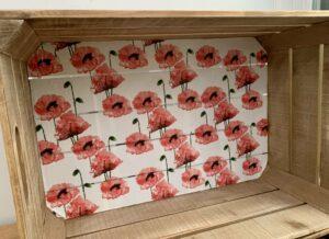 Poppy decoupaged crate in progress