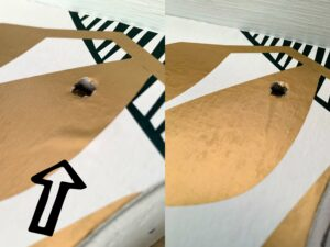 Before and after photo of ironing again to remove bubbles