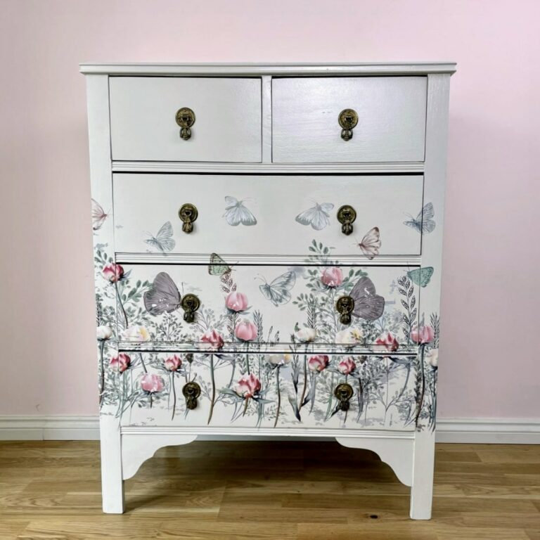 Finished floral chest of drawers