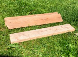 Raw wood during sanding