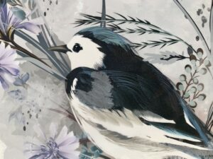Close up of the transfer in progress with the bird's wing