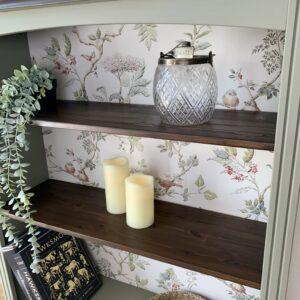closeup of the finished bookshelf