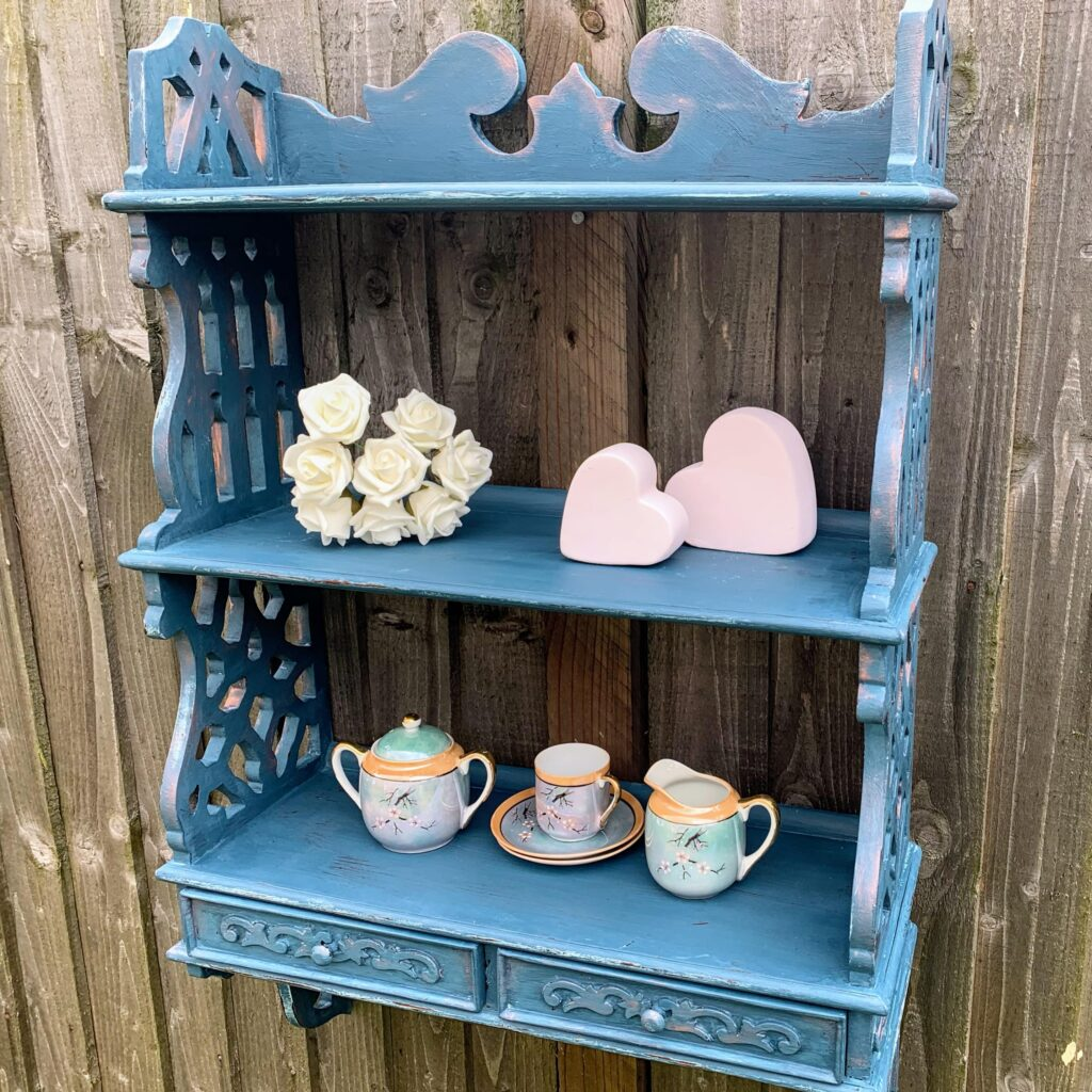 After upcycling with blue chalk paint and copper highlights
