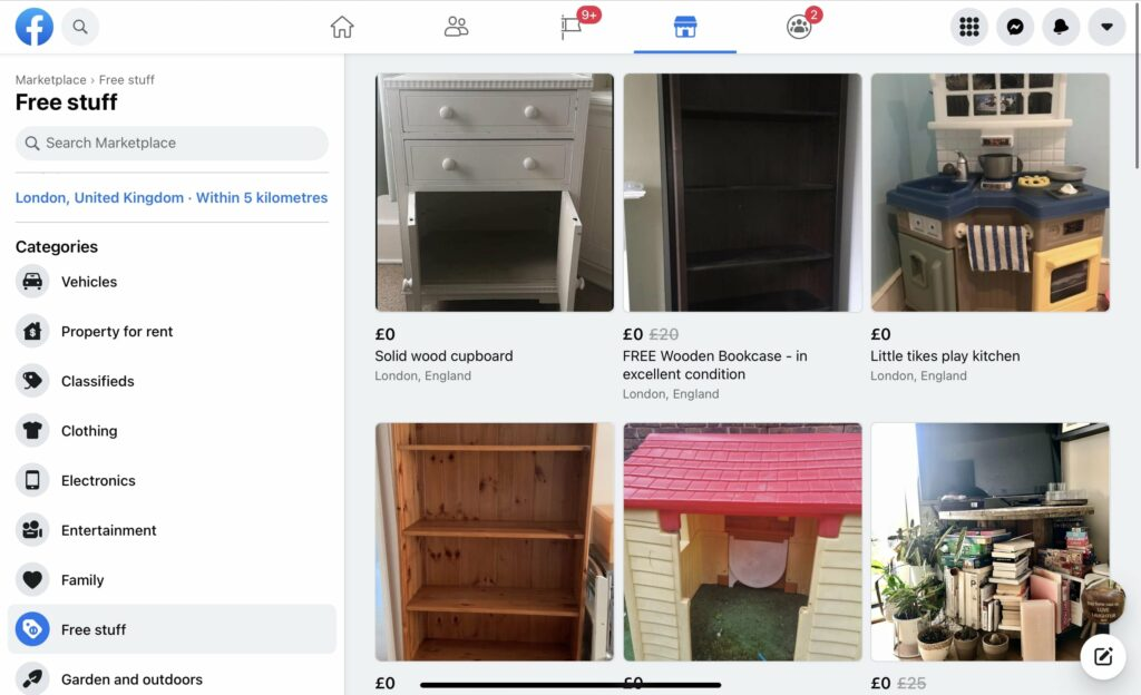 How to find free furniture using the 'free stuff' category on the menu bar